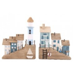 A mix of Coastal themed wooden house decorations with blue and white hues