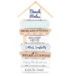 Sure to tie in with any Coastal Charm themed space, a large tiered plaque with scripted text and nautical colours