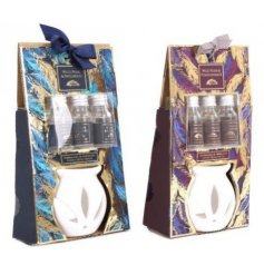 Assorted by their beautiful feathery packaging, these ceramic oil burners and added oils will make a wonderful gift idea