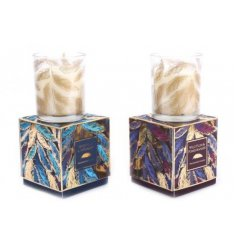 An assortment of delightfully scented candle pots set within a feathery themed packaging