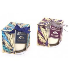 Assorted by their delightfully fragrant scents, these purple and blue feather themed candle pots are a must in any home