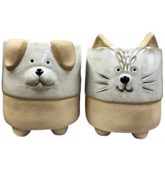 A mix of small ceramic planters, both set with ears and feet and an added animal embossed decal