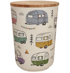 An eco friendly bamboo storage container with a quirky printed caravan decal around it and additional bamboo cap lid
