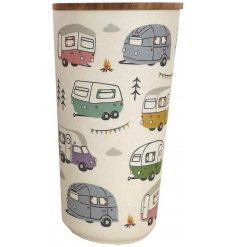A charming bamboo based jar with a quirky caravan park themed decal