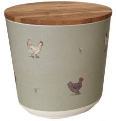 A charming watercolour chicken illustration presented on a small round storage jar from the new Willow Farm range.