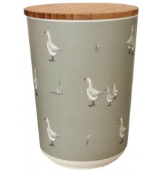 A charming watercolour goose illustration presented on a medium round storage jar from the new Willow Farm range.