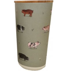 A charming watercolour pig illustration presented on a large round storage jar from the new Willow Farm range.