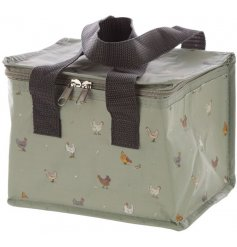 A beautifully illustrated chickens insulated lunch bag from the charming new farm range, Willow Farm.
