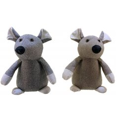 Grey and brown assorted fabric mouse doorstops.