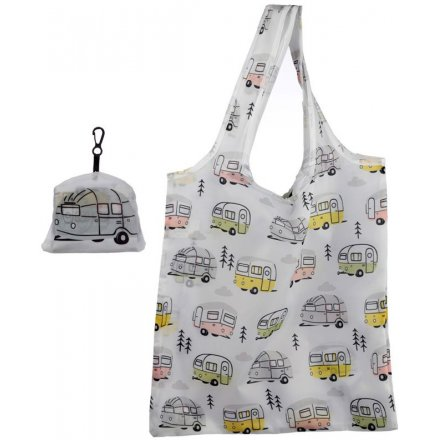 A practical reusable shopping bag which folds away into a tidy pouch. Decorated with a modern caravan design
