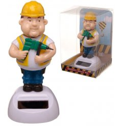 A comical builder solar pal with bobbing head