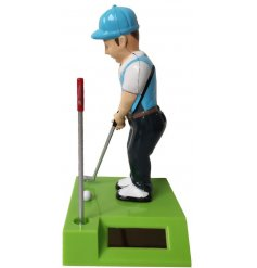 A small quirky solar pal with a putting golfer decal