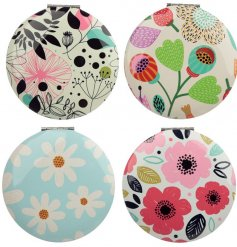 A colourful, botanical compact mirror which can be carried easily in a bag or pocket whilst on the go.