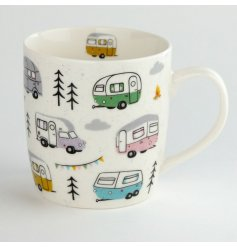 A quirky and colourful Caravan Printed mug