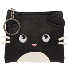 Adorable cat shaped purse with pink heart nose. Purrfect for a little cat lover to keep their pocket money safe.