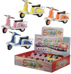 A retro scooter toy in bold and bright colours. Complete with a floral design.