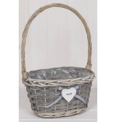 Perfect for any upcoming Easter Egg hunt, a small basket complete with a sturdy handle and sweet heart decal