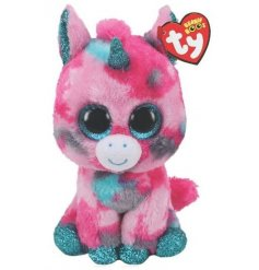 a pretty and colourful unicorn soft toy from the beanie boo range