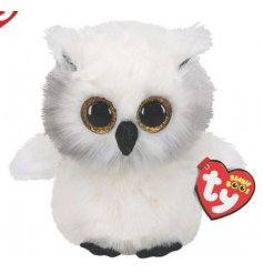 A perfect little cuddling companion for little ones, this snuggly owl has wide eyes and soft white fur