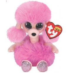 A bright pink toned poodle TY soft Toy from the Beanie Boo Range