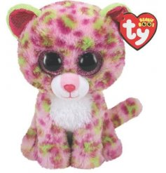 A colourful Leopard beanie boo soft toy with added sparkly accents!
