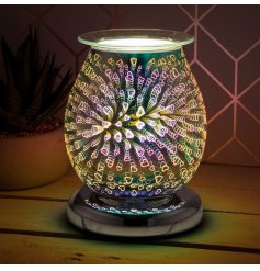 a glass lamp with oil burner/wax melt feature with dish, creating a 3-dimensional, multicoloured heart effect.