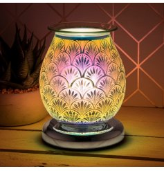 glass lamp with oil burner/wax melt feature with dish, creating a 3-dimensional, multicoloured Art Deco effect.