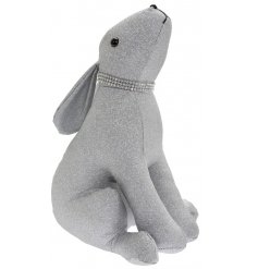 Covered with a glitzy silver glitter fabric, this Hare doorstop has additional sparkling accents