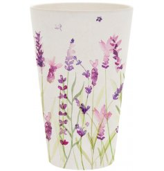 A stylish bamboo beaker with delightful floral lavender design.