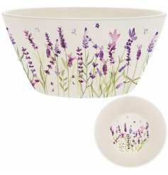 a small bamboo bowl with a purple lavender decal