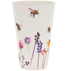A small bamboo plate with a beautifully printed Busy Bee Garden themed decal
