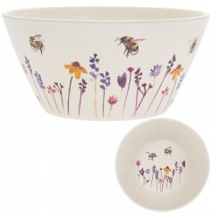 A small bamboo bowl with a beautifully printed Busy Bee Garden themed decal