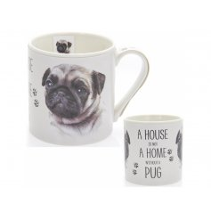 A charming portrait china mug with the quote 'A house is not a home without a Pug'