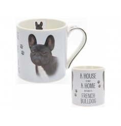 A beautifully illustrated French Bulldog portrait presented on a fine china mug with the quote