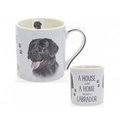 A beautifully illustrated Labrador portrait presented on a fine china mug with the quote