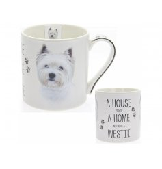 A charming portrait china mug with the quote 'A house is not a home without a Westie'