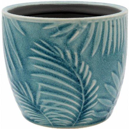 Blue Tropical Leaf Pot, Small