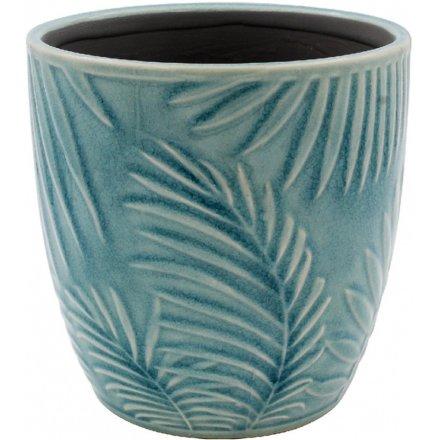 Blue Tropical Leaf Pot, Medium