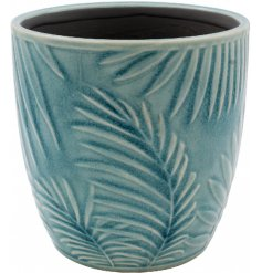 A small pot decorated with a charming blue tone and added embossed tropical leaf decal