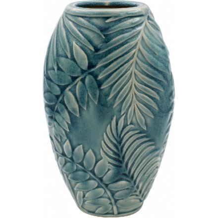 Blue Tropical Leaf Pot, Large