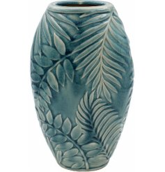 A tall pot decorated with a charming blue tone and added embossed tropical leaf decal