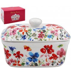 Set with an array of colourful flowers, this beautiful Butter Dish is part of a new range