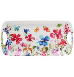 Covered with an array of pretty colours and floral decal, this serving tray is perfect for any home or kitchen
