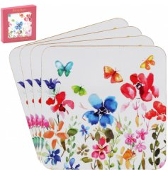 A stylish set of cork based coasters decorated with a colourful flower and butterfly decal