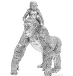 A gorgeously realistic Gorilla and Baby Ornament set with a Silver Art decal