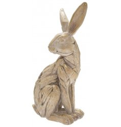 The popular sitting hare presented in a new driftwood finish for a rustic, country feel.