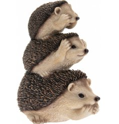 A sweet little ornamental stack of prickly hedgehogs