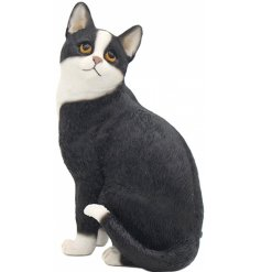 A sitting cat figure with a black and white tone