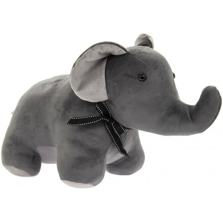 Grey Velveteen Elephant Doorstop