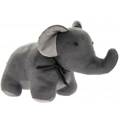 Velveteen Elephant Doorstop   Sure to sit perfectly in any home, a grey toned velveteen elephant doorstop